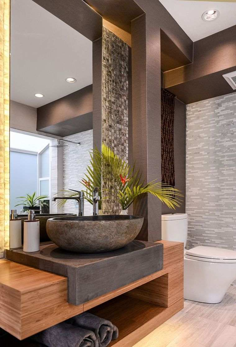 baños modernos piedra madera