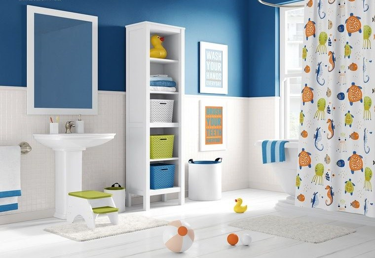 baños para niños cortinas