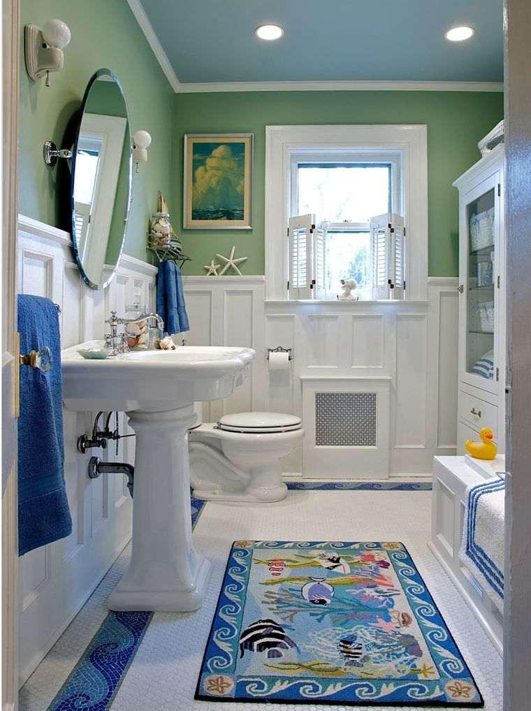 baños para niños verde