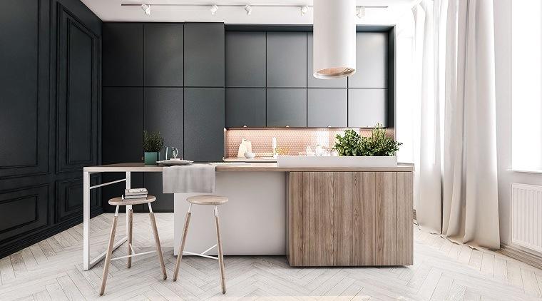 cocina-muebles-negros-isla-madera