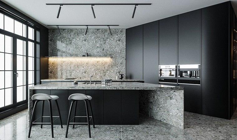 cocinas-con-muebles-negros-combinacion-piedra