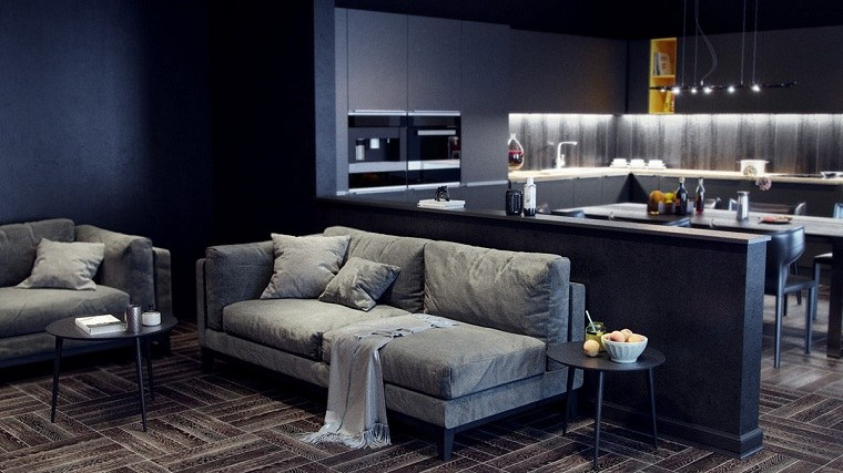 cocinas-con-muebles-negros-compartido-salon