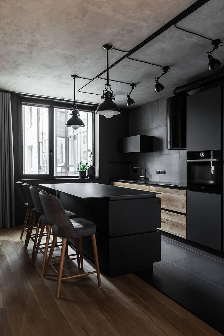 cocinas-con-muebles-negros-estilo-industrial