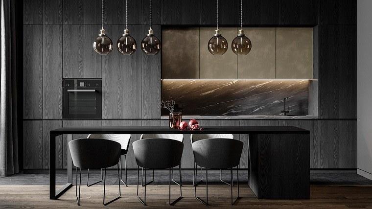 cocinas con muebles negros-estilo-original