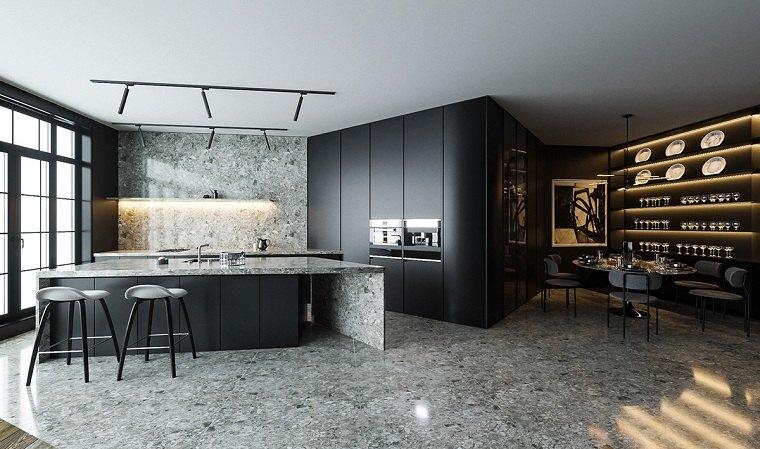 cocinas con muebles negros-granito-ideas