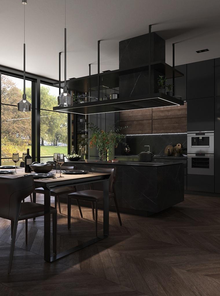 cocinas-con-muebles-negros-ideas-comedor