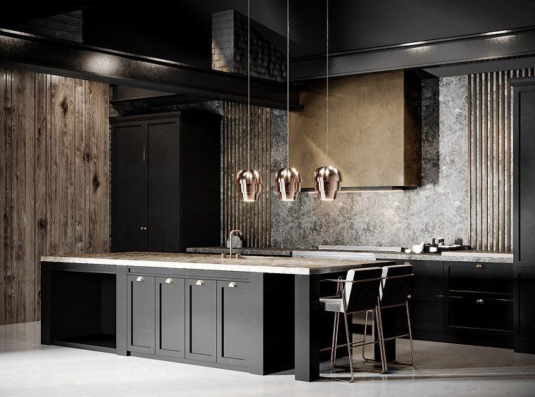 cocinas con muebles negros ideas-espacios-amplios