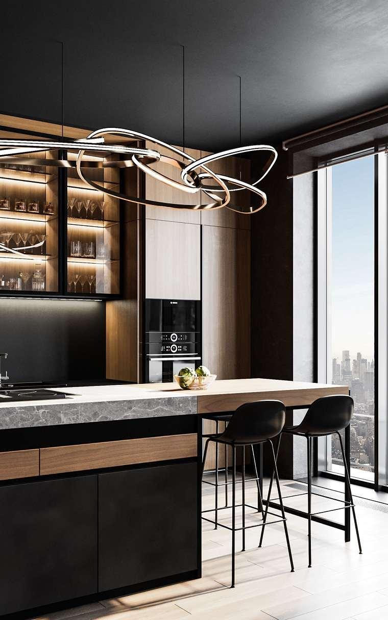 cocinas-con-muebles-negros-iluminacion-bella