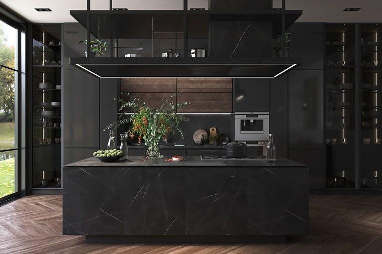 cocinas-con-muebles-negros-isla-marmol