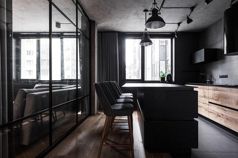 cocinas-con-muebles-negros -isla-negra