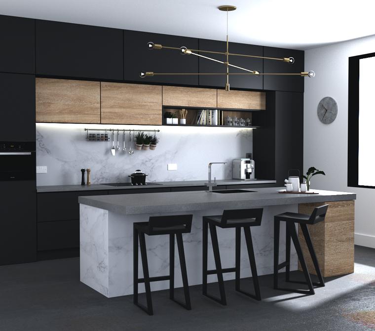 cocinas-con-muebles-negros-marmol-blanco