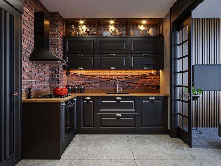 cocinas-con-muebles-negros-pared-ladrillo