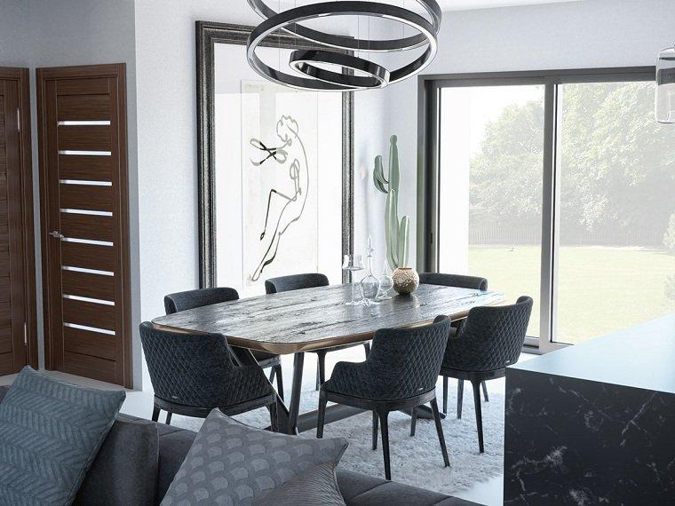 como-decorar-un-comedor-muebles-negros