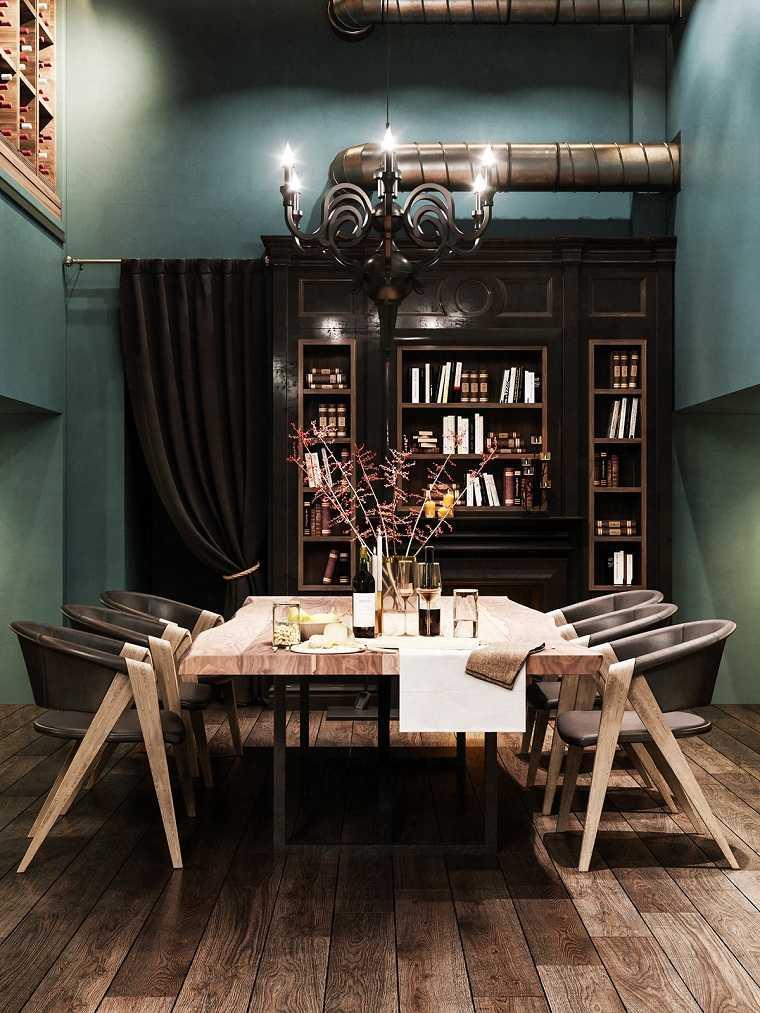 como-decorar-un-comedor--paredes-oscuras