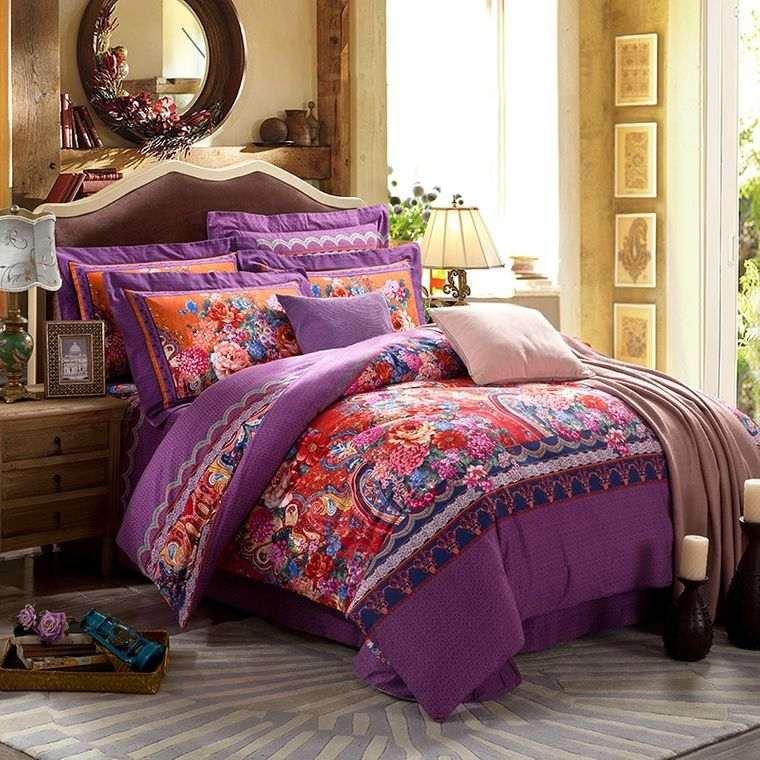 decoración de dormitorios textiles brillantes