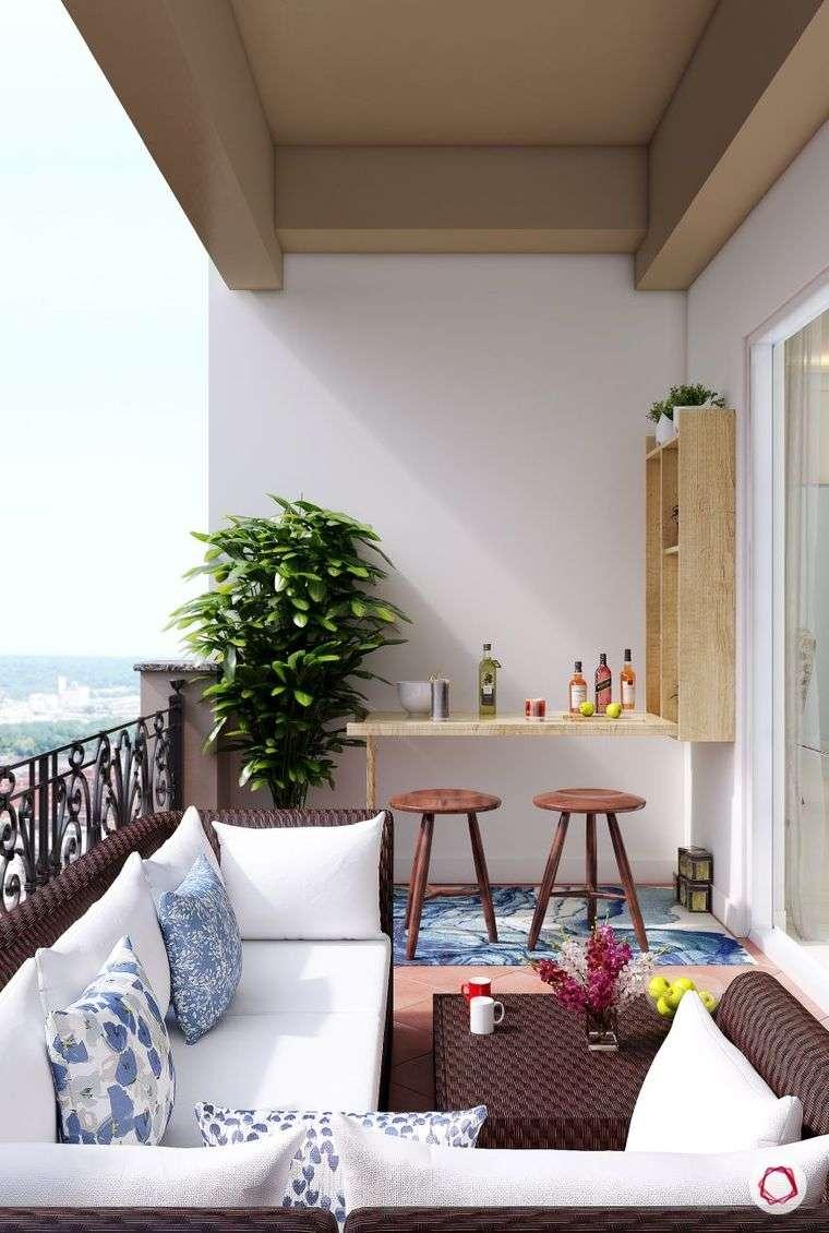 decorar balcón pequeño barra bebidas