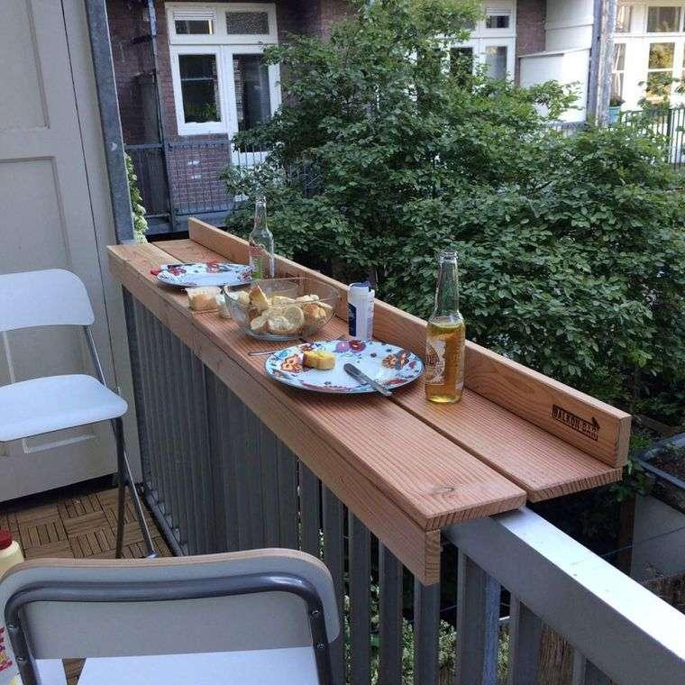 decorar balcón pequeño barra cena