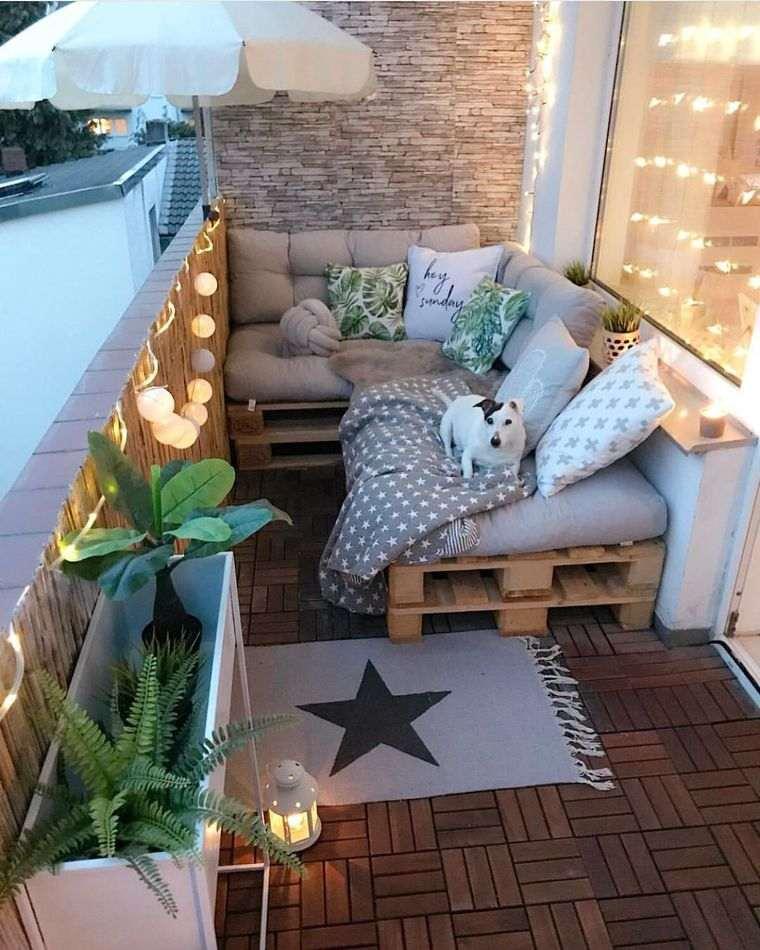 decorar balcón pequeño sofa