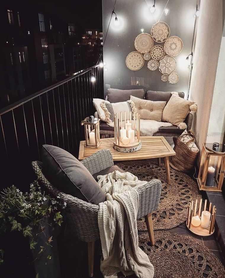 decorar balcón pequeño velas