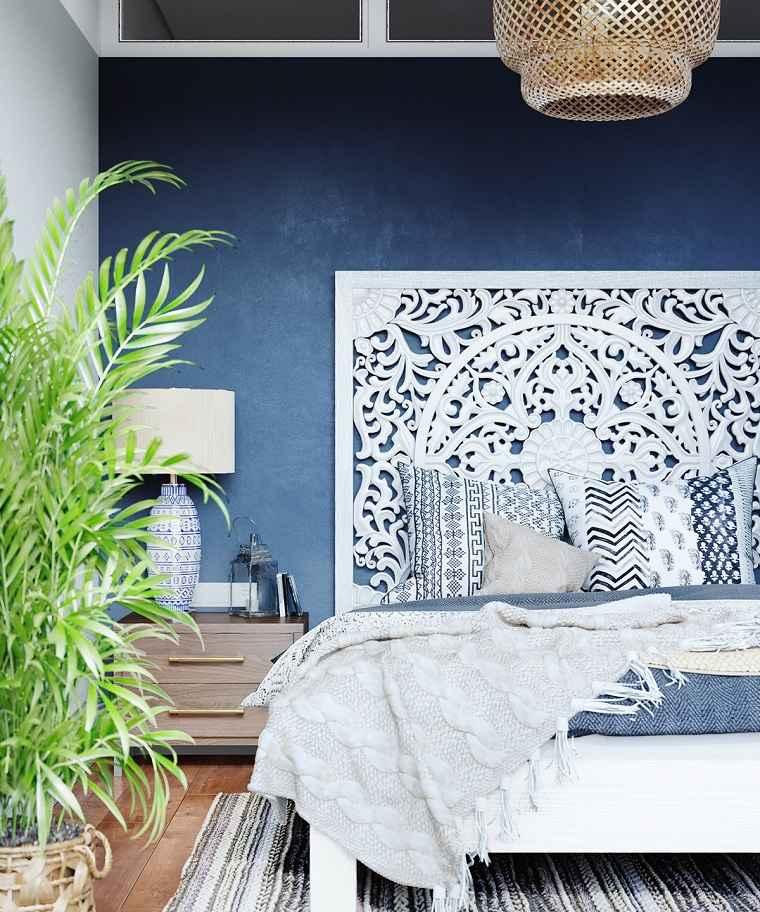 dormitorio-azul-cama-madera-blanco