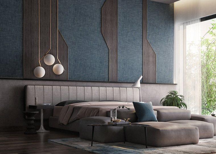 dormitorio azul-combinacion-madera