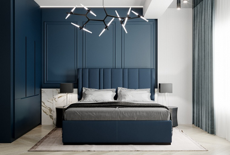 dormitorio-azul-pared-estilo-ideas