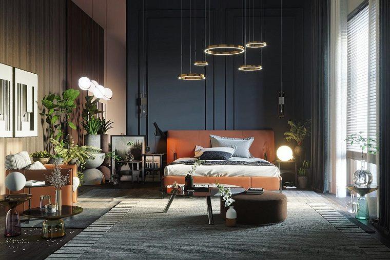 dormitorio-azul-plantas-cama-gris