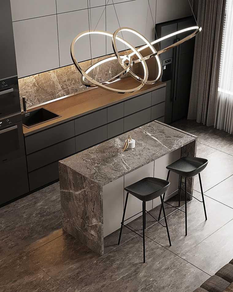ideas-cocina-muebles-negros-isla-piedra