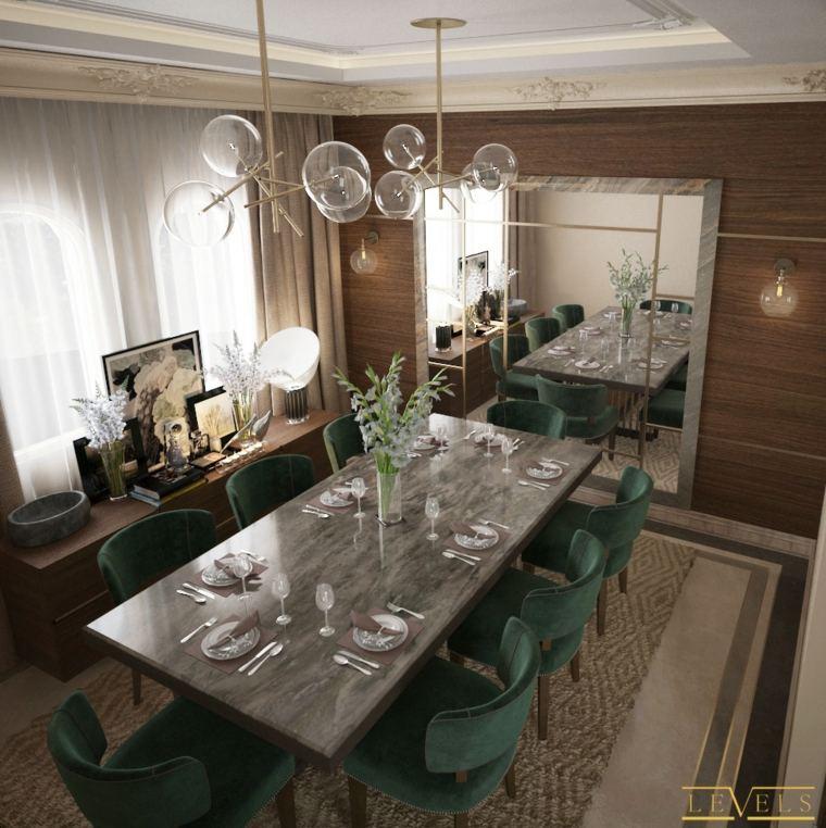 mesa-comedor-marmol-sillas-verdes