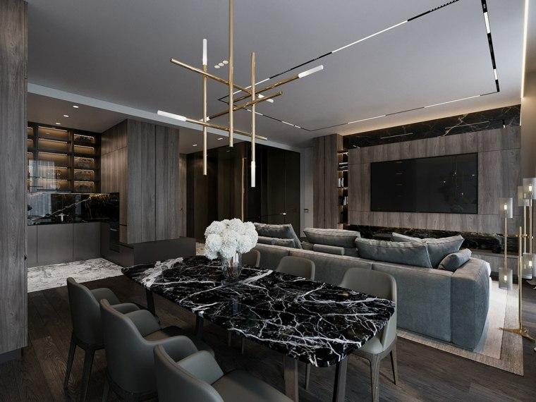 mesa-marmol-negro-comedor-ideas