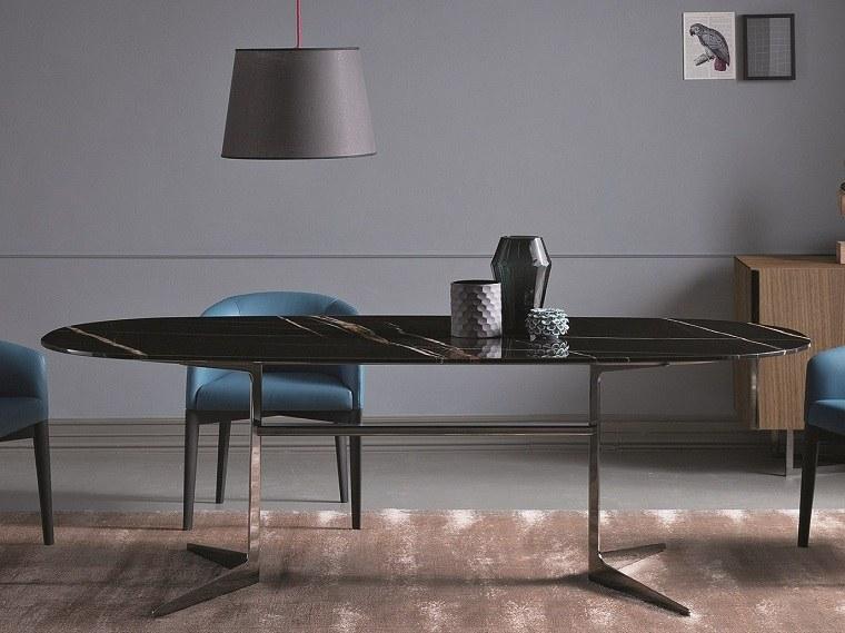mesas de diseño comedor-negra-ovalada