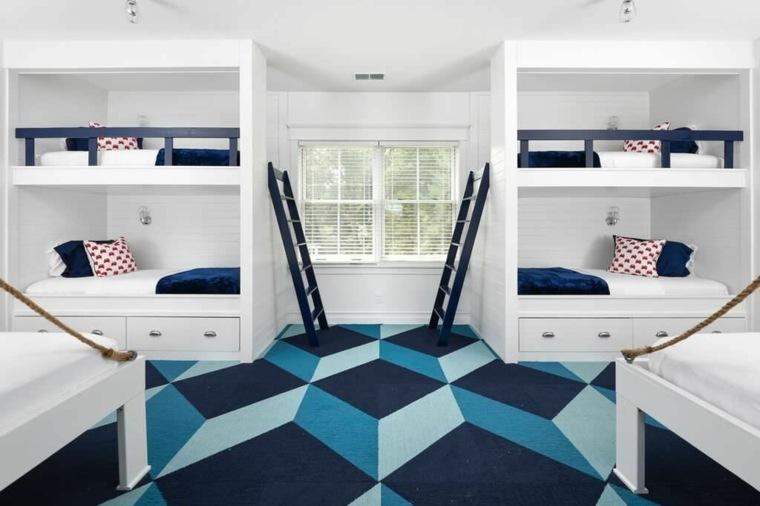 Interior de estilo moderno con literas integradas para los invitados