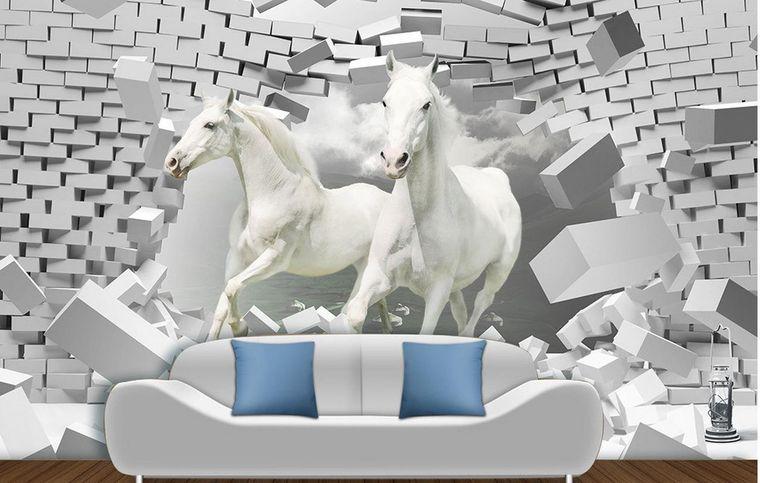 papel pintado caballos blanco
