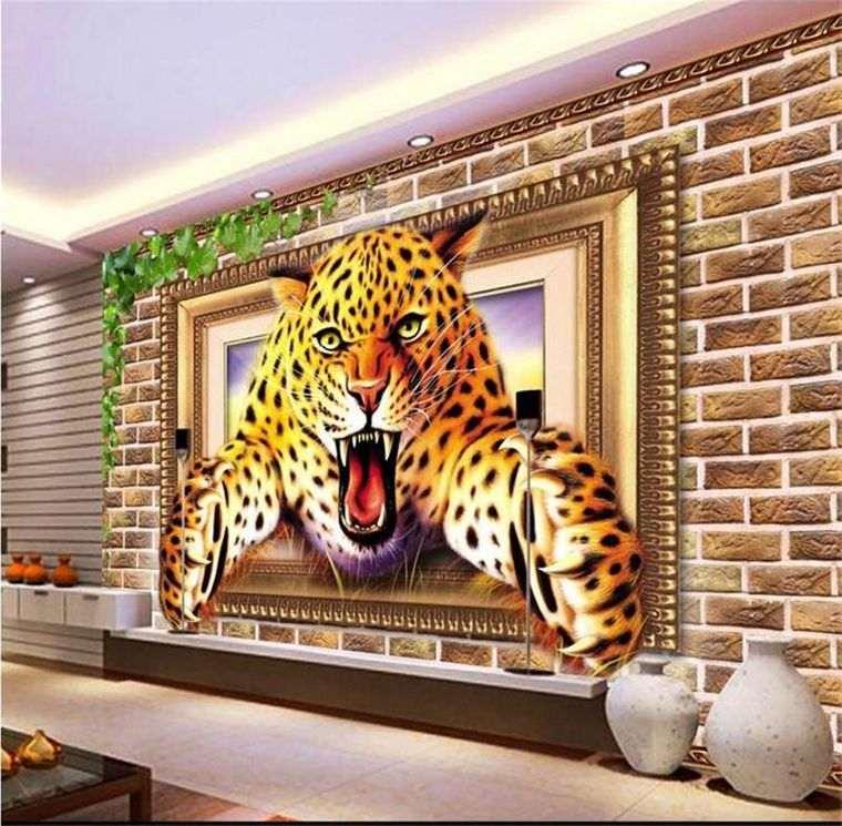 papel pintado leopardo
