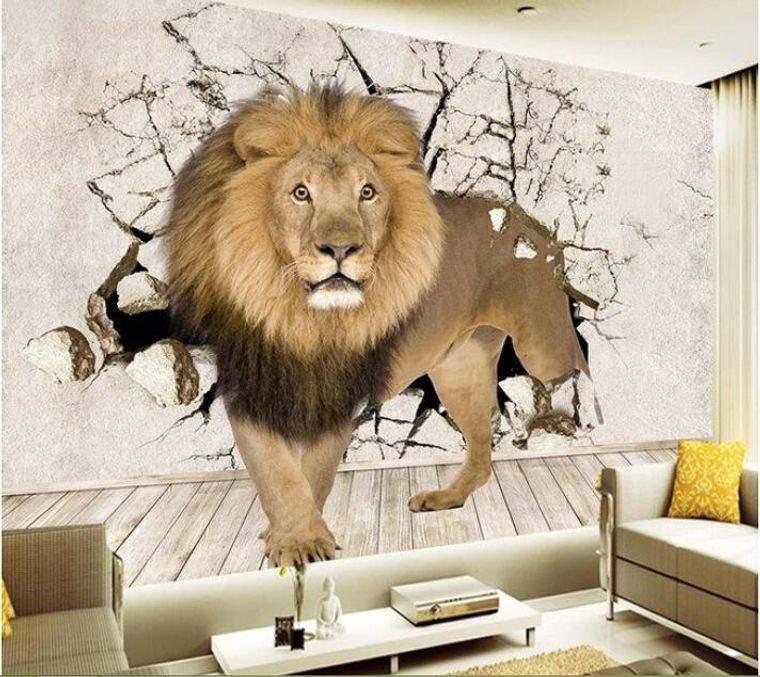 papel tapiz 3d leon