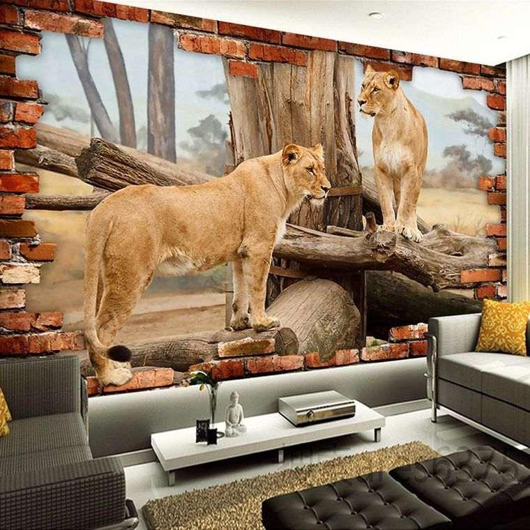 papel tapiz leones