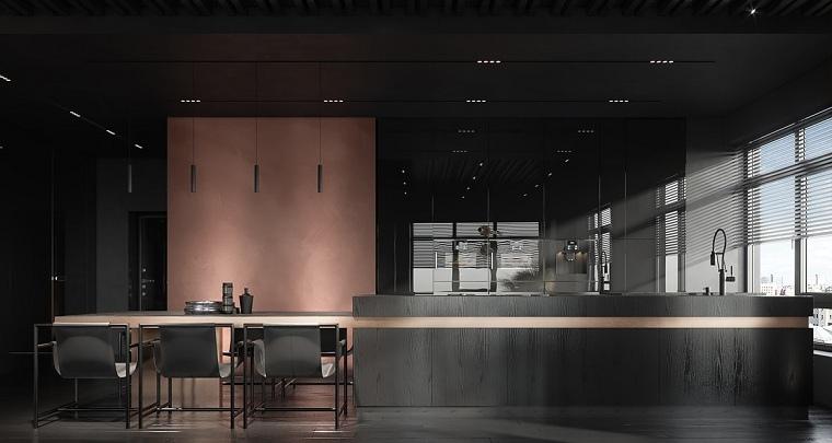 pared-color-original-cocina-muebles-negros