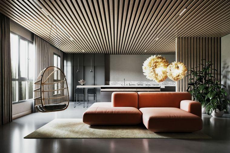 sala-de-estar-moderna-silla-colgante