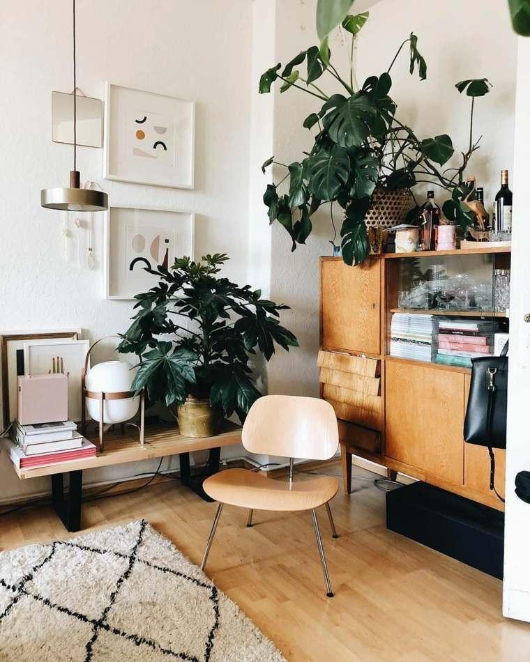 salón boho chic-muebles-madera