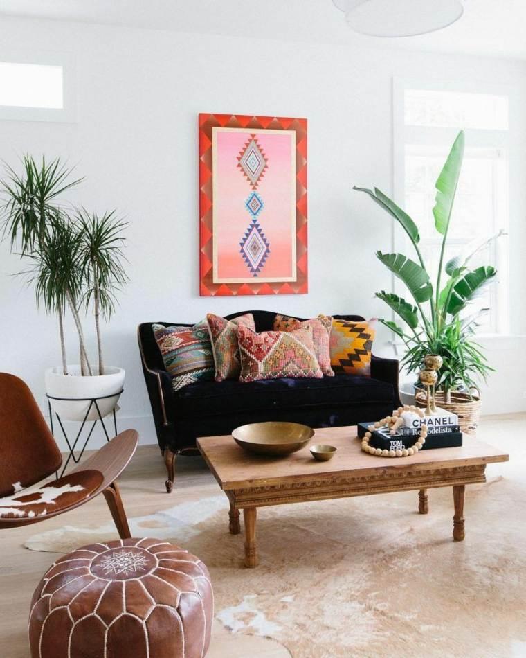 salón boho chic-muebles-plantas