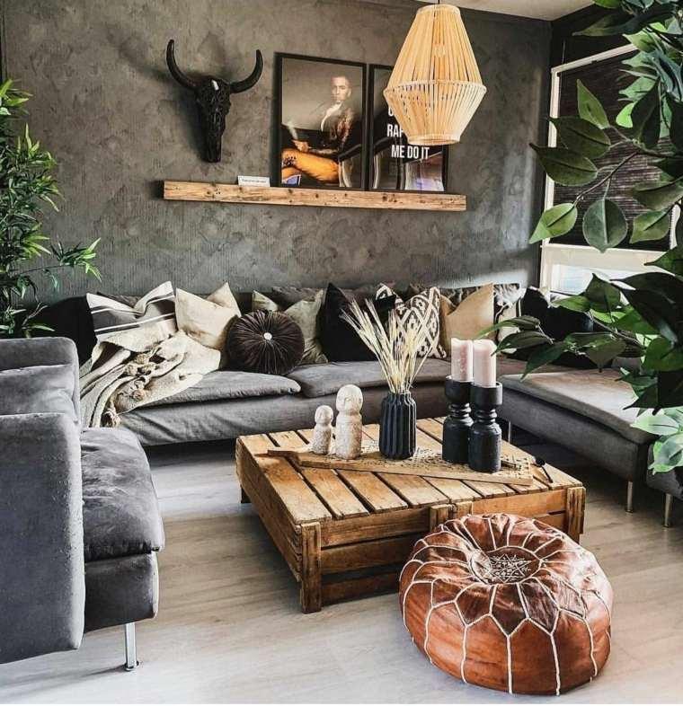 salon boho chic-sofa-gris