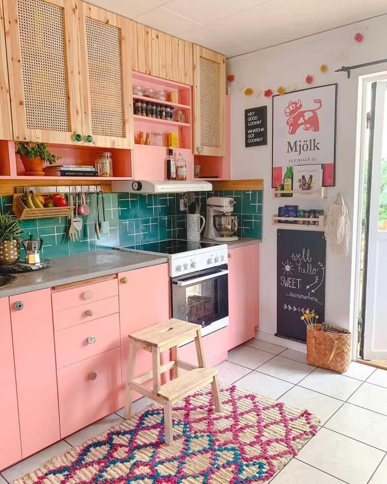 Cocina ecléctica-color-rosa