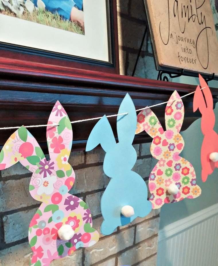 decoración de pascua conejitos colores