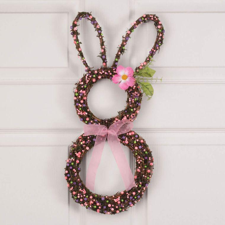 decoración de pascua corona conejo