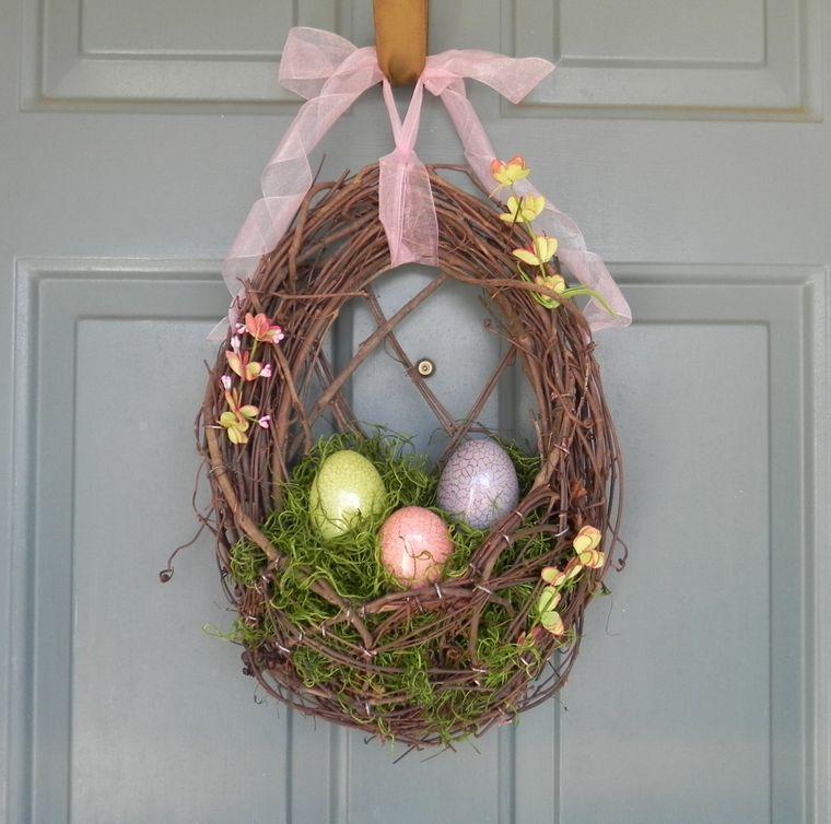 decoración de pascua corona nido