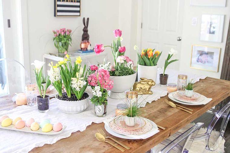 decoración de pascua mesa