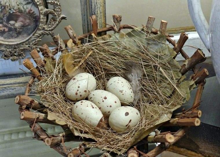 decoración de pascua nido rama