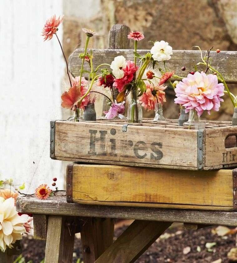 decoración primavera caja botella