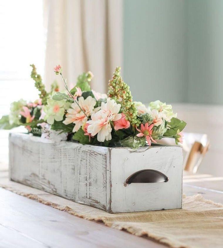 decoración primavera cajas flores