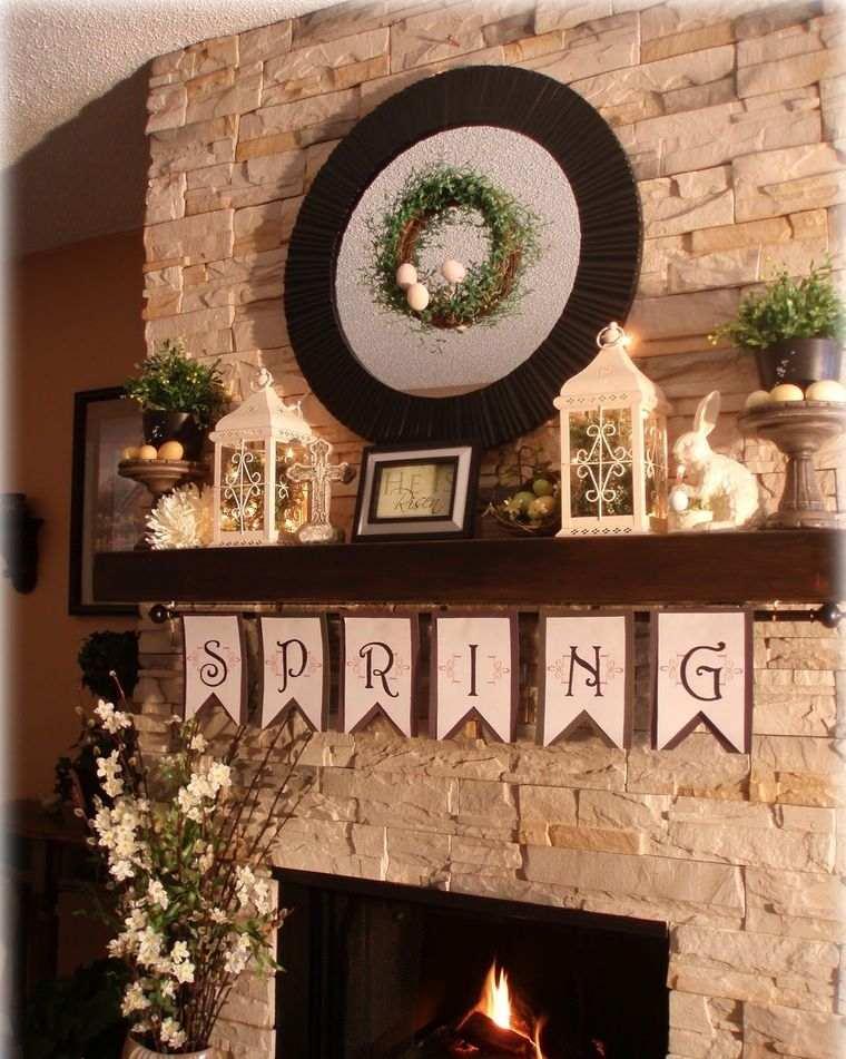 decoración primavera chimenea